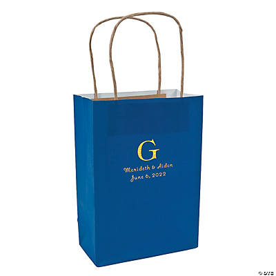 Blue Medium Personalized Monogram Welcome Gift Bags with Gold Foil Image Thumbnail