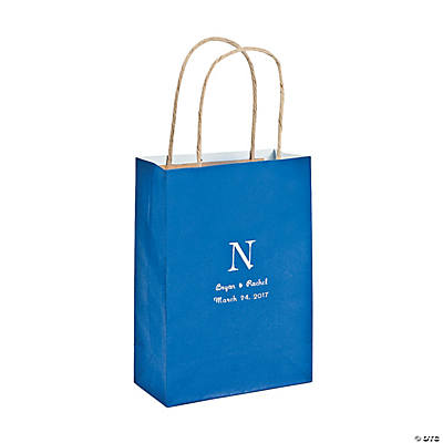 Blue Medium Personalized Monogram Welcome Gift Bags with Silver Foil Image Thumbnail