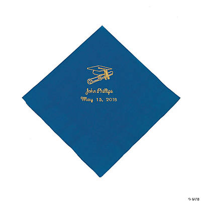 Blue Personalized Graduation Luncheon Napkins - Gold Print Image Thumbnail