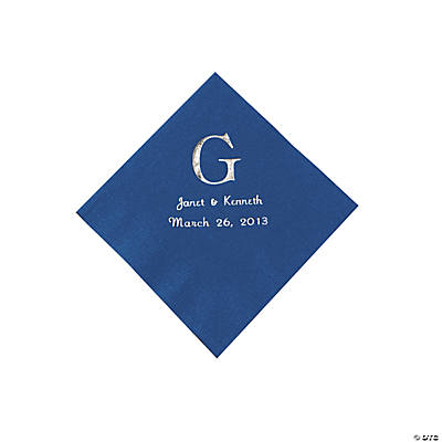 Blue Wedding Monogram Personalized Napkins with Silver Foil - Beverage Image Thumbnail