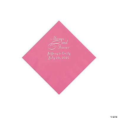 Candy Pink Always & Forever Personalized Napkins with Silver Foil - Beverage Image Thumbnail