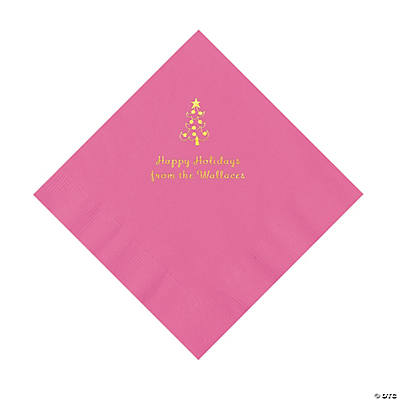 Candy Pink Christmas Tree Personalized Napkins with Gold Foil – Luncheon Image Thumbnail