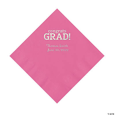 Candy Pink Congrats Grad Personalized Napkins with Silver Foil - Luncheon Image Thumbnail