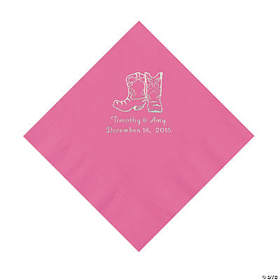 Candy Pink Cowboy Boots Personalized Napkins with Silver Foil - Luncheon Image Thumbnail