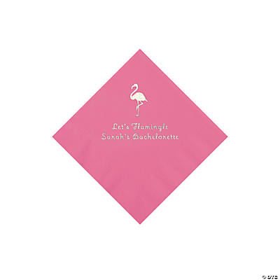 Candy Pink Flamingo Personalized Napkins with Silver Foil - Beverage