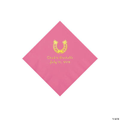 Candy Pink Horseshoe Personalized Napkins with Gold Foil - Beverage