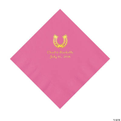 Candy Pink Horseshoe Personalized Napkins with Gold Foil - Luncheon Image Thumbnail