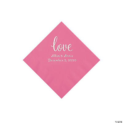 Candy Pink Love Script Personalized Napkins with Silver Foil - Beverage Image Thumbnail