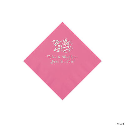 Candy Pink Rose Personalized Napkins - Beverage Image Thumbnail
