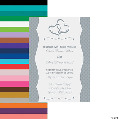 Cardstock Personalized Two Hearts Wedding Invitations