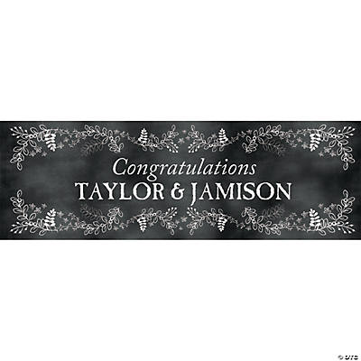 Chalkboard Floral Wedding Custom Banner - Small Image Thumbnail