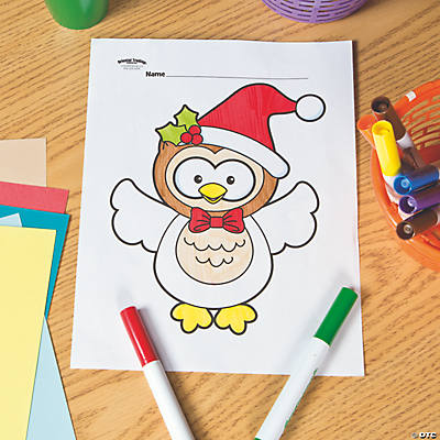 Christmas Owl Free Printable Coloring Page   Oriental Trading