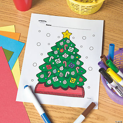 Christmas Tree Free Printable Coloring Page Image Thumbnail