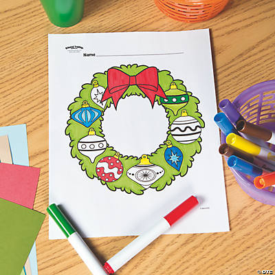 Christmas Wreath Free Printable Coloring Page   Oriental Trading