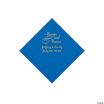 Cobalt Blue Always & Forever Personalized Napkins with Gold Foil - Beverage Image Thumbnail
