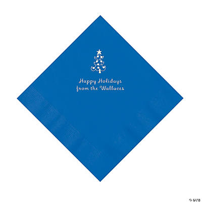 Cobalt Blue Christmas Tree Personalized Napkins with Silver Foil – Luncheon Image Thumbnail
