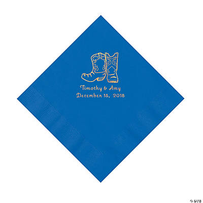 Cobalt Blue Cowboy Boots Personalized Napkins with Gold Foil - Luncheon Image Thumbnail
