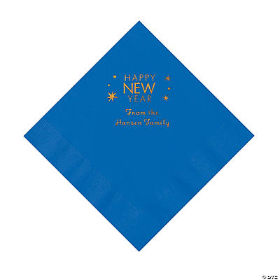 Cobalt Blue Happy New Year Personalized Napkins with Gold Foil – Luncheon Image Thumbnail