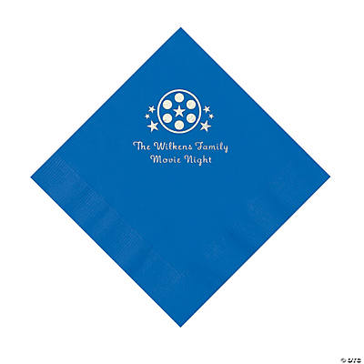 Cobalt Blue Movie Night Personalized Napkins with Silver Foil – Luncheon Image Thumbnail