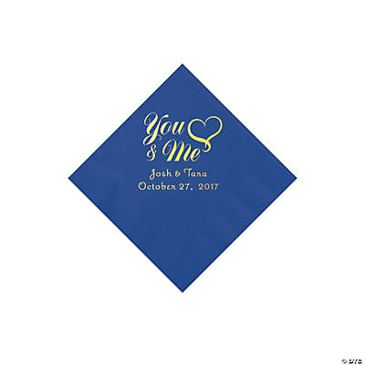 Cobalt Blue You & Me Heart Personalized Napkins with Gold Foil - Beverage