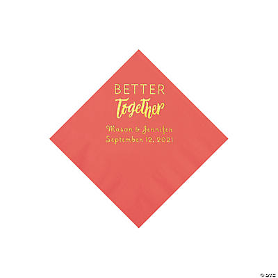 Coral Better Together Personalized Napkins with Gold Foil - Beverage Image Thumbnail