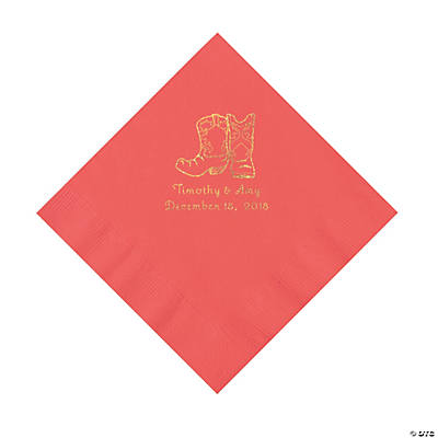 Coral Cowboy Boots Personalized Napkins with Gold Foil - Luncheon Image Thumbnail