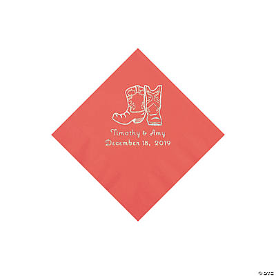 Coral Cowboy Boots Personalized Napkins with Silver Foil - Beverage