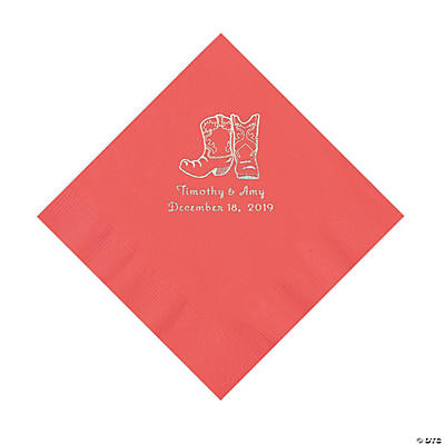 Coral Cowboy Boots Personalized Napkins with Silver Foil - Luncheon Image Thumbnail
