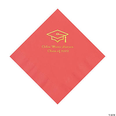 Coral Grad Mortarboard Personalized Napkins with Gold Foil – Luncheon Image Thumbnail