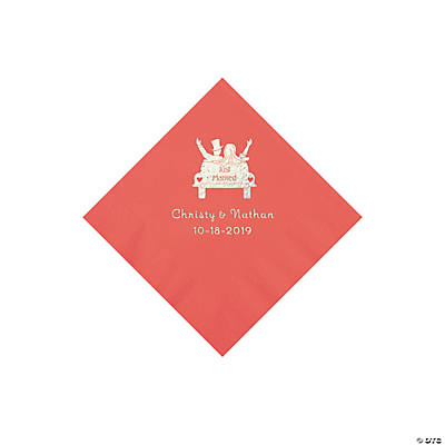 Coral Just Married Personalized Napkins with Silver Foil - Beverage Image Thumbnail