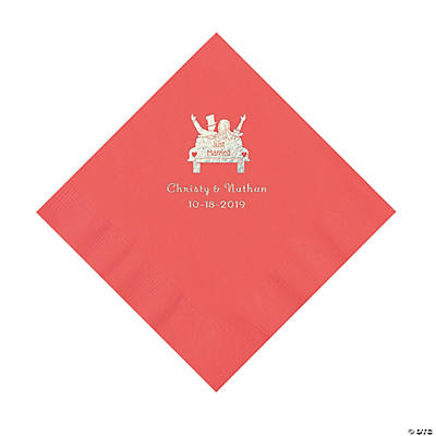 Coral Just Married Personalized Napkins with Silver Foil - Luncheon Image Thumbnail