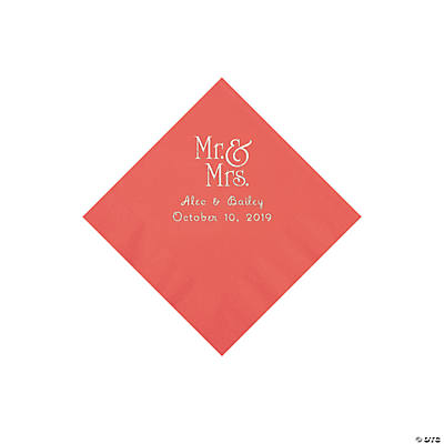 Coral Mr. & Mrs. Personalized Napkins with Silver Foil – Beverage