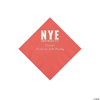 Coral New Year's Eve Personalized Napkins with Silver Foil - Beverage Image Thumbnail
