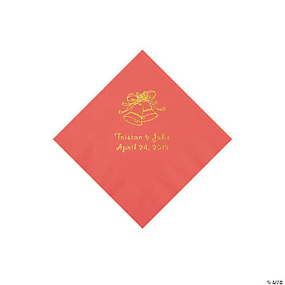 Coral Wedding Bells Personalized Napkins with Gold Foil - Beverage