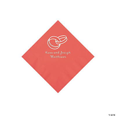 Coral Wedding Ring Personalized Napkins with Silver Foil - Beverage