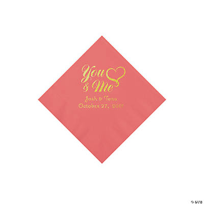 Coral You & Me Heart Personalized Napkins with Gold Foil - Beverage