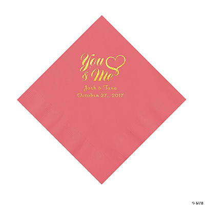 Coral You & Me Heart Personalized Napkins with Gold Foil – Luncheon