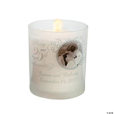 Custom Photo 25th Anniversary Votive Candle Holders Image Thumbnail