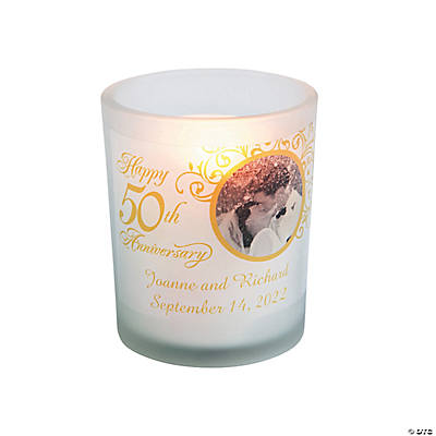 Custom Photo 50th Anniversary Votive Candle Holders Image Thumbnail