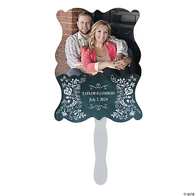 Custom Photo Chalkboard Floral Wedding Favor Fans