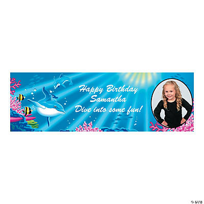 Custom Photo Medium Dolphin Party Vinyl Banner