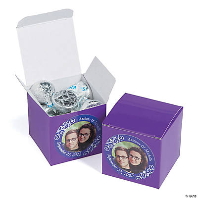 Custom Photo Mini Purple Favor Boxes Image Thumbnail