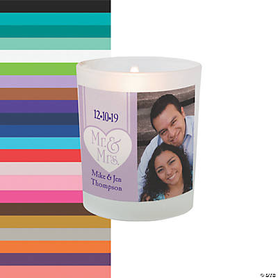 Custom Photo Mr. & Mrs. Wedding Votive Candle Holders Image Thumbnail