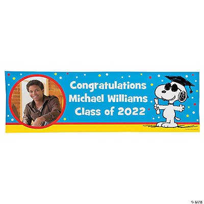 Custom Photo Small Peanuts® Graduation Vinyl Banner Image Thumbnail