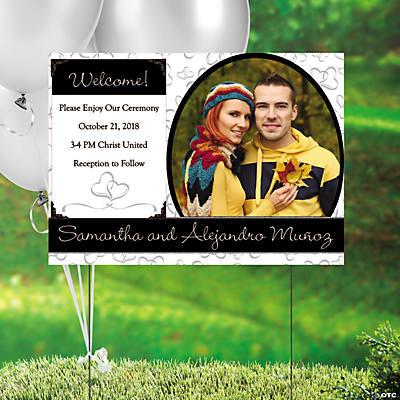 Custom Photo Two Hearts Wedding Yard Sign Discontinued