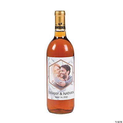 Custom Photo White Marble Wine Bottle Labels Image Thumbnail