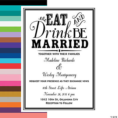 Eat Drink Be Married Personalized Wedding Invitations