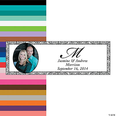 Flourish Border & Monogram Wedding Photo Custom Banner - Medium Image Thumbnail