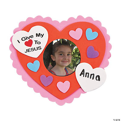 Foam I Give My Heart to Jesus Picture Frame Magnet Craft Kit