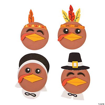 Makes 12 Turkey Head Magnet Craft Kit Thanksgiving FX